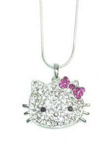 Crystal cat necklace on 38cm snake chain